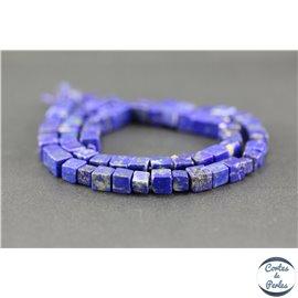 Perles semi précieuses en lapis lazuli d'Afghanistan - Cube/6,5 mm