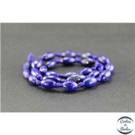 Perles semi précieuses en lapis lazuli d'Afghanistan - Grain de riz/9 mm