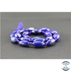 Perles semi précieuses en lapis lazuli d'Afghanistan - Grain de riz/10 mm
