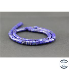 Perles semi précieuses en lapis lazuli d'Afghanistan - Tube/6 mm