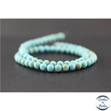 Perles en turquoise Kingman d'Arizona - Rondes/6mm - Grade AA