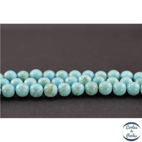 Perles semi précieuses en turquoise Kingman d'Arizona - Ronde/8 mm