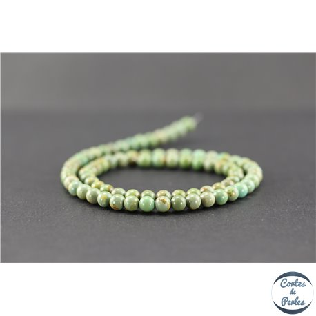 Perles semi précieuses en turquoise verte Kingman d'Arizona - Ronde/5 mm