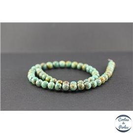 Perles semi précieuses en turquoise verte Kingman d'Arizona - Ronde/8 mm
