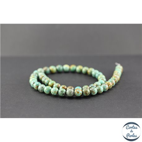 Perles en turquoise verte Kingman d'Arizona - Rondes/8mm - Grade B