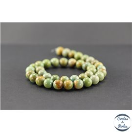 Perles semi précieuses en turquoise verte Kingman d'Arizona - Ronde/10 mm