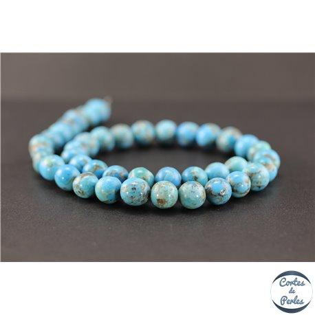 Perles semi précieuses en turquoise Kingman d'Arizona - Ronde/10 mm