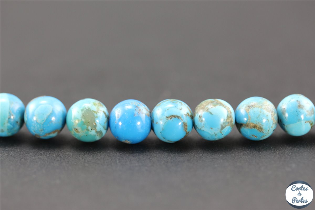 10 perles de coquillage coloré  turquoise 6 mm