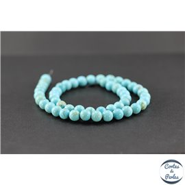 Perles semi précieuses en turquoise Kingman d'Arizona - Ronde/8 mm - Grade AA
