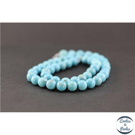 Perles semi précieuses en howlite turquoise - Rondes/8 mm
