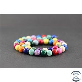 Perles semi précieuses en pierre de fossile - Rondes/8 mm - Multicolore