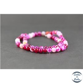 Perles en agate fuschia - Rondes/6mm