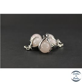 Lot de 5 pendentifs en quartz rose - Ronds/27 mm