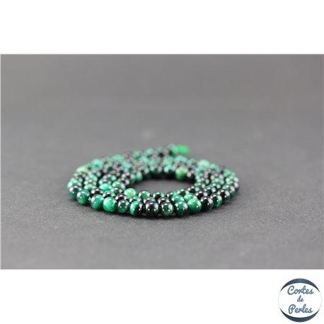 Perles semi précieuses en oeil de tigre vert - Ronde/4 mm