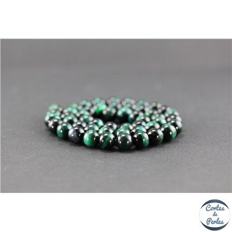 Perles semi précieuses en oeil de tigre vert - Ronde/8 mm