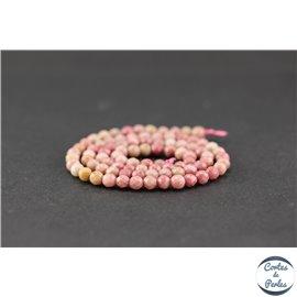 Perles semi précieuses en rhodonite - Ronde/4 mm - Grade A