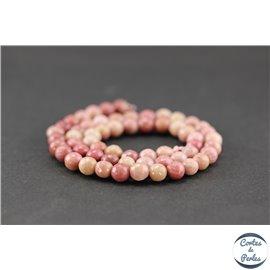 Perles semi précieuses en rhodonite - Ronde/6 mm - Grade A