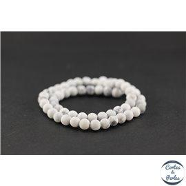Perles semi précieuses en howlite dépolie - Ronde/6 mm