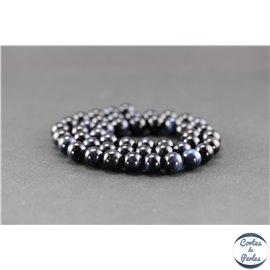Perles semi précieuses en oeil de tigre bleu - Ronde/8 mm - Grade A
