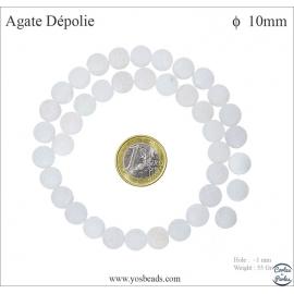 Perles semi précieuses en agate - Rondes/10 mm - Blanc dépoli