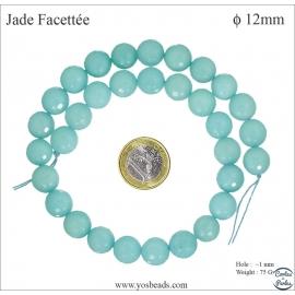 Perles semi précieuses en marbre - Rondes/12 mm - Bleu des îles
