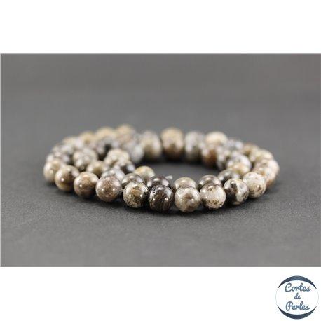 Perles semi précieuses en quartz marron - Ronde/8 mm