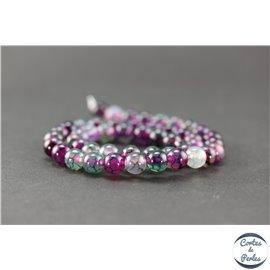 Perles semi précieuses en agate - Ronde/8 mm - Acid violet