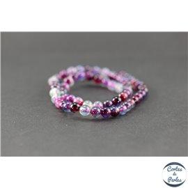 Perles semi précieuses en agate - Ronde/6 mm - Acid violet