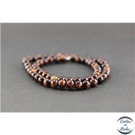 Perles en oeil de tigre maroon - Rondes/6mm