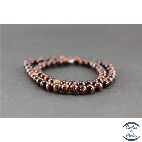 Perles semi précieuses en oeil de tigre maroon - Ronde/6 mm