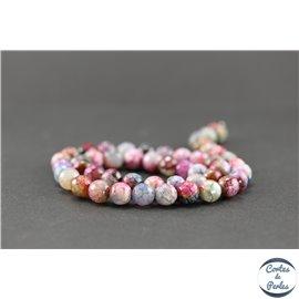 Perles semi précieuses en agate - Ronde/8 mm - Multicolore - Grade A