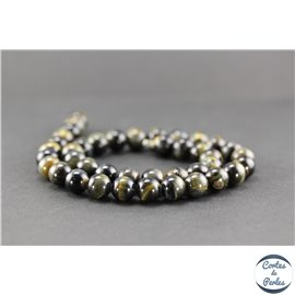 Perles semi précieuses en oeil de tigre noir - Ronde/10 mm