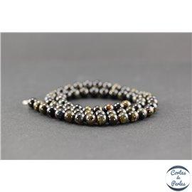 Perles en oeil de tigre noir - Rondes/6mm