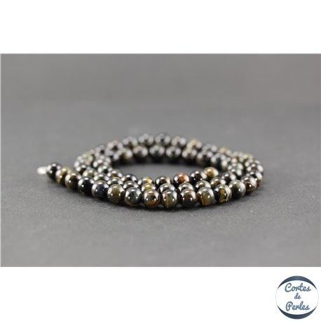 Perles semi précieuses en oeil de tigre noir - Ronde/6 mm