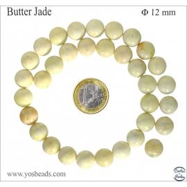 Perles semi précieuses en butter jade - Rondes/12 mm
