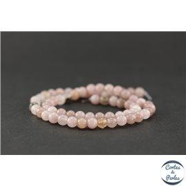 Perles semi précieuses en jaspe rose - Ronde/6,5 mm