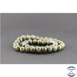 Perles semi précieuses en jaspe crocodile - Ronde/8 mm