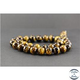 Perles en oeil de tigre - Rondes/12mm - Grade AB+