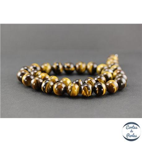 Perles semi précieuses en oeil de tigre - Ronde/12 mm - Grade AB+