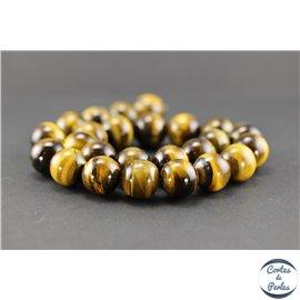 Perles semi précieuses en oeil de tigre - Ronde/16 mm - Grade AB+