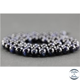Perles semi précieuses en oeil de tigre bleu - Ronde/6 mm - Grade A