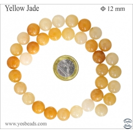 Perles en yellow jade - Rondes/12mm
