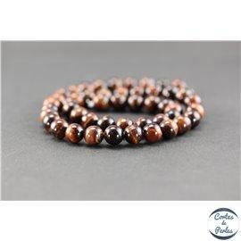 Perles en oeil de tigre maroon - Rondes/8mm