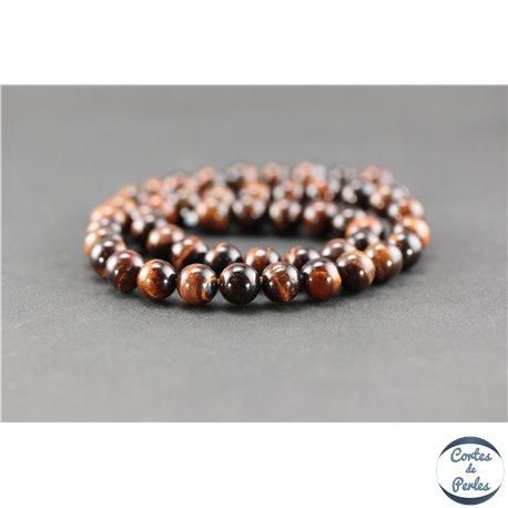 Perles semi précieuses en oeil de tigre marron - Ronde/8,5 mm