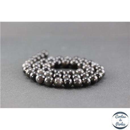 Perles semi précieuses en obsidienne - Ronde/8 mm