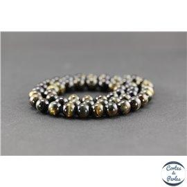 Perles en oeil de tigre noir - Rondes/8mm