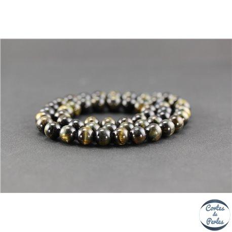 Perles semi précieuses en oeil de tigre noir - Ronde/8 mm