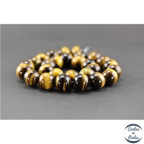 Perles semi précieuses en oeil de tigre - Ronde/14 mm - Grade AB+