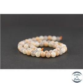 Perles semi précieuses en pierre de lune rose - Ronde/6 mm