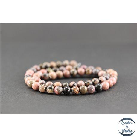 Perles semi précieuses en rhodonite - Ronde/6 mm